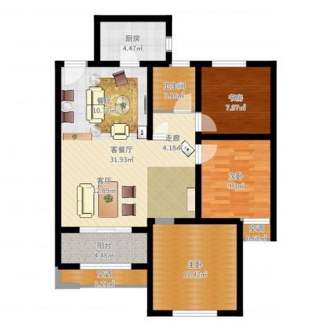 高科麓湾国际社区3室2厅1卫1厨96.00㎡户型图