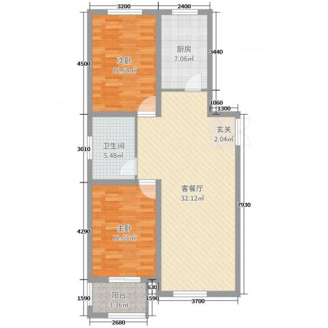 北景城2室2厅1卫1厨90.00㎡户型图