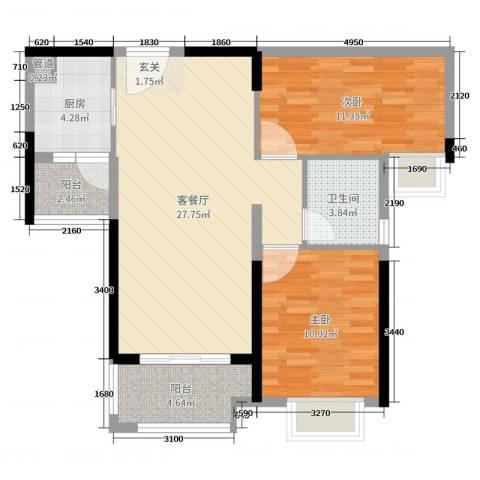 雅居乐・剑桥郡2室2厅1卫1厨82.00㎡户型图