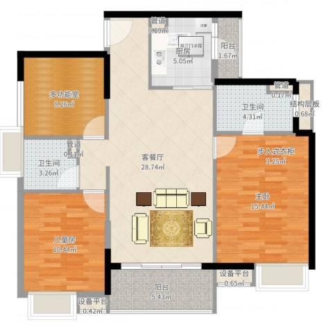 九江中航城2室2厅2卫1厨106.00㎡户型图