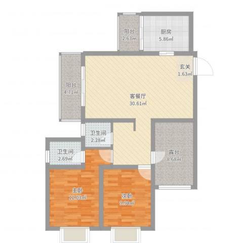 福成・金色嘉园2室2厅2卫1厨79.44㎡户型图