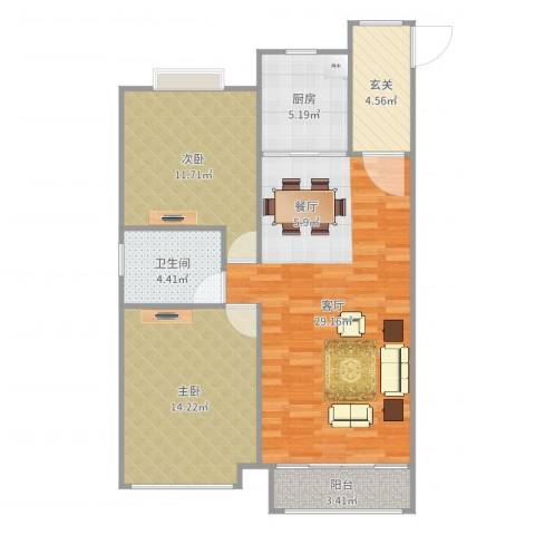 怡和四季园筑2室1厅1卫1厨91.00㎡户型图