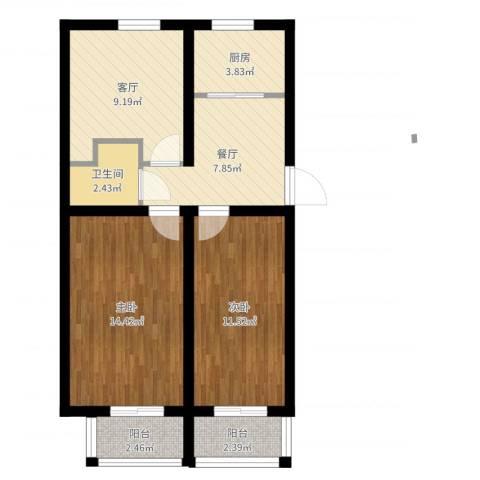 玉泉路16号院2室2厅1卫1厨68.00㎡户型图