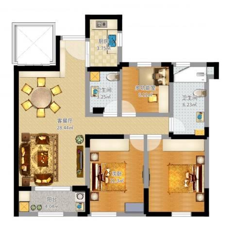 信远朗庭1室2厅2卫1厨93.00㎡户型图