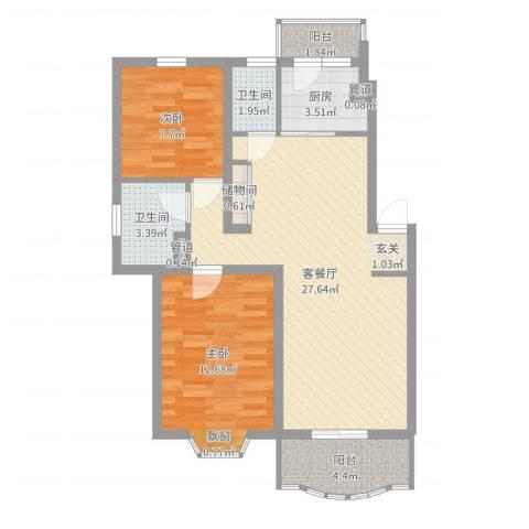 上大阳光乾泽园2室2厅2卫1厨80.00㎡户型图
