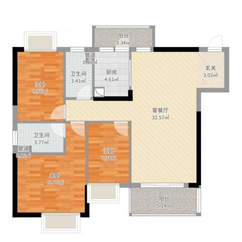 金世纪嘉园3室2厅2卫1厨105.00㎡户型图