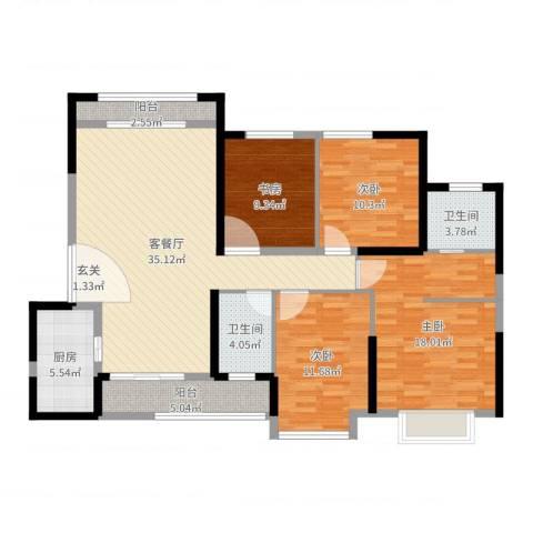 怡景万家4室2厅2卫1厨132.00㎡户型图