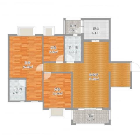 海逸豪庭02户型3室2厅2卫1厨131.00㎡户型图