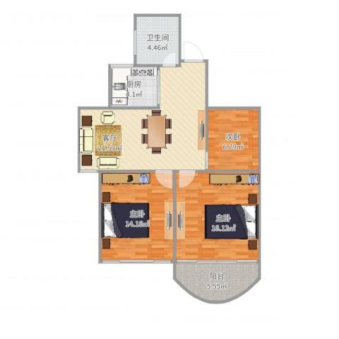 泊林公寓3室1厅1卫1厨91.00㎡户型图