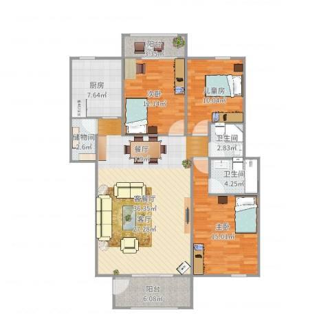 福鑫星城商业广场3室2厅2卫1厨125.00㎡户型图