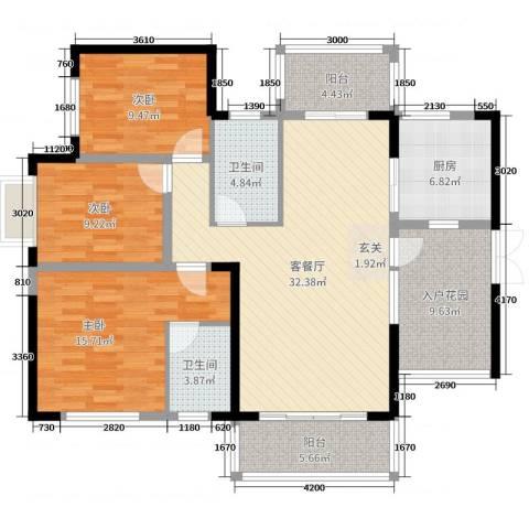 华韵城市海岸二期3室2厅2卫1厨134.00㎡户型图