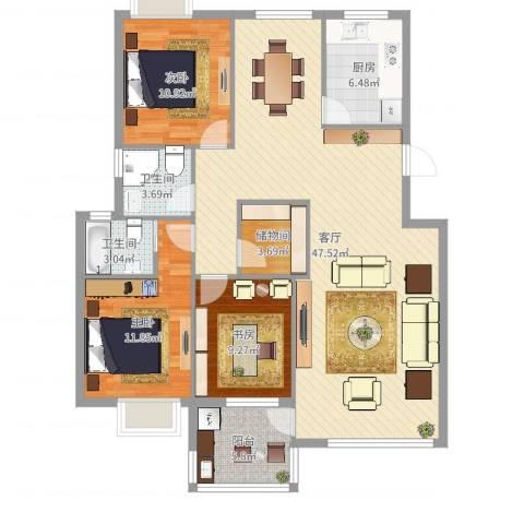 天水家园3室1厅2卫1厨128.00㎡户型图