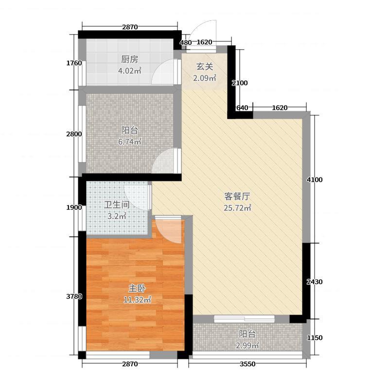 保利香槟国际74.00㎡A9栋F户型2室2厅1卫1厨