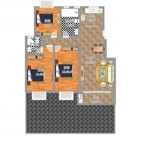 明珠山庄3室1厅2卫1厨177.00㎡户型图