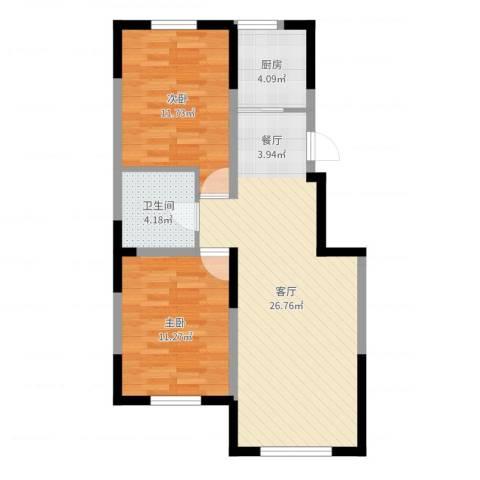 新里海德公馆2室1厅1卫1厨73.00㎡户型图