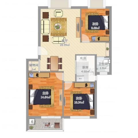 云龙嘉苑3室1厅1卫1厨93.00㎡户型图