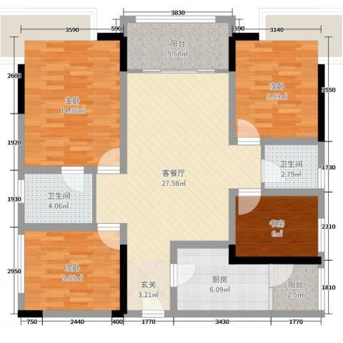 保利锦湖林语4室2厅2卫1厨104.00㎡户型图