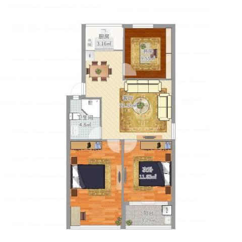 柳锦花园2室1厅1卫1厨91.00㎡户型图