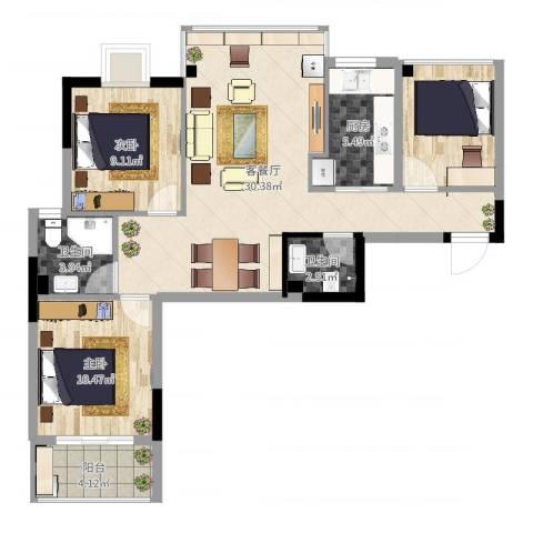 曦华佳苑2室2厅2卫1厨92.00㎡户型图