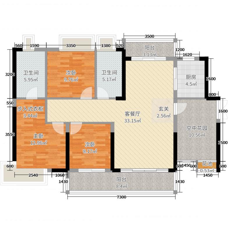 浏阳奥园广场128.50㎡4#01户型4室4厅2卫1厨