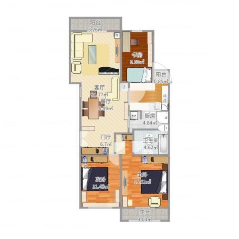 荷清苑3室1厅1卫1厨111.00㎡户型图