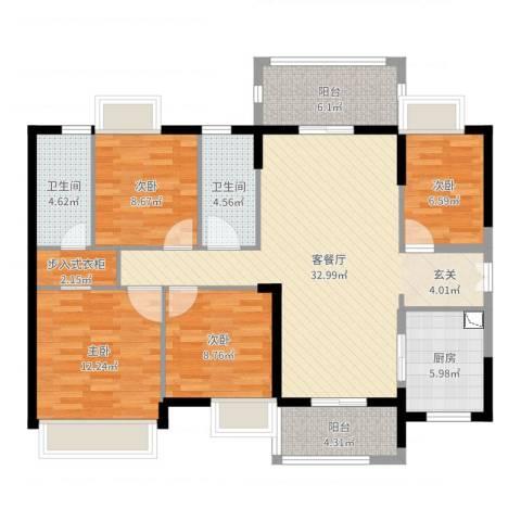 时代倾城4室2厅2卫1厨121.00㎡户型图