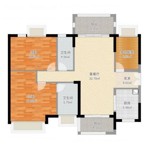 时代倾城2室2厅2卫1厨122.00㎡户型图