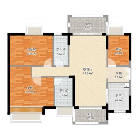 时代倾城3室2厅2卫1厨121.00㎡户型图