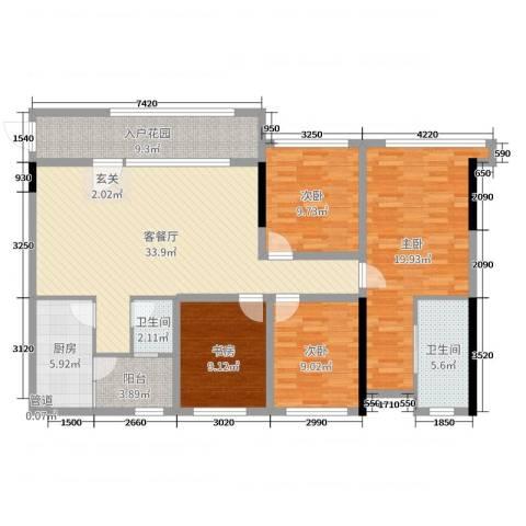 保利锦湖林语4室2厅2卫1厨126.00㎡户型图