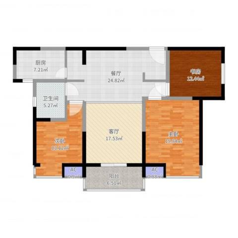 万科玲珑湾 玲珑湾3室2厅1卫1厨136.00㎡户型图