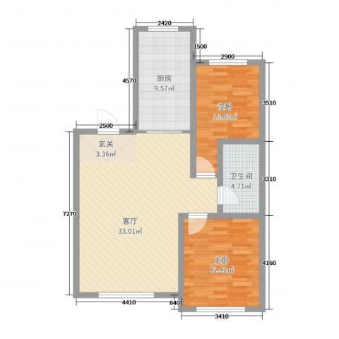 红日・城市假日花园2室1厅1卫1厨89.00㎡户型图