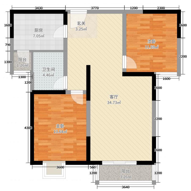 东方世纪城112.00㎡17#F户型2室2厅1卫1厨