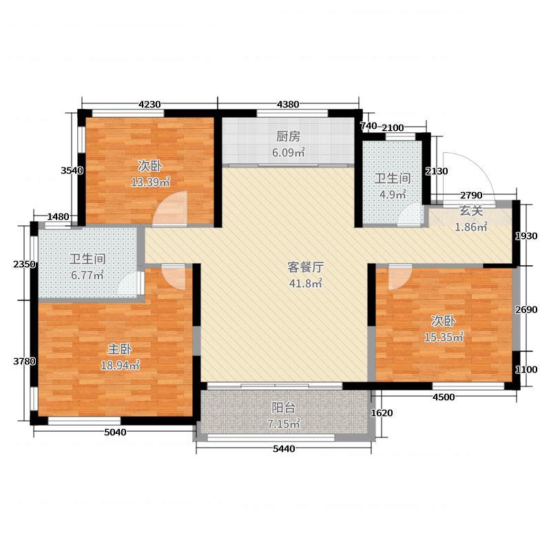 齐润花园143.00㎡标准层-12A户型3室3厅2卫1厨