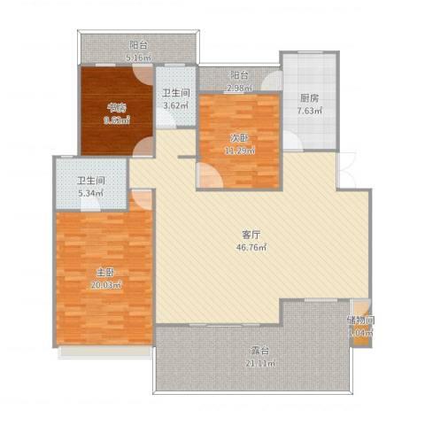 融汇半岛二期3室1厅2卫1厨168.00㎡户型图
