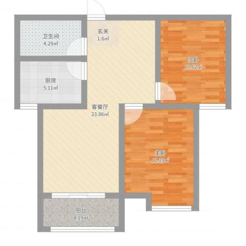 环宇国际广场2室2厅1卫1厨76.00㎡户型图