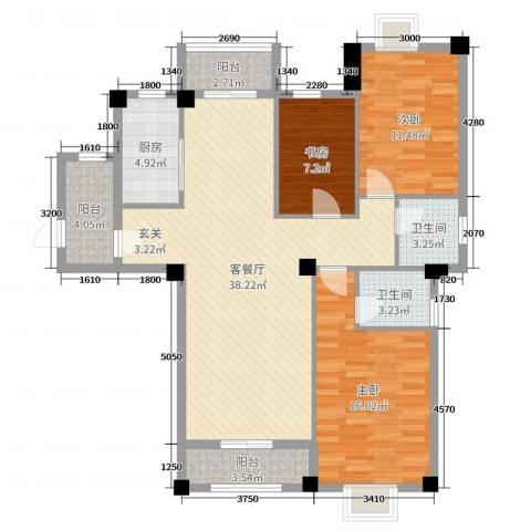 山水华庭3室2厅2卫1厨119.00㎡户型图