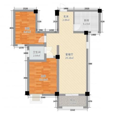 山水华庭2室2厅1卫1厨80.00㎡户型图