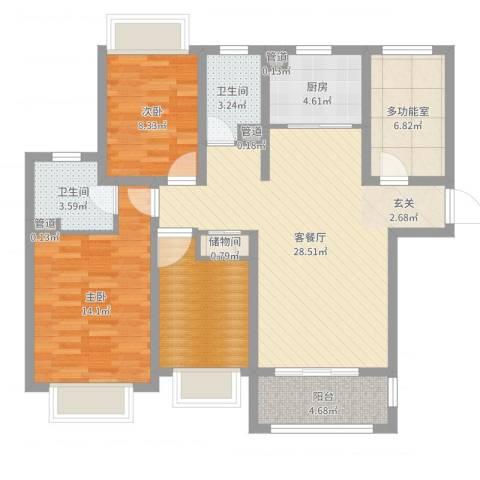 城投・御园2室2厅2卫1厨104.00㎡户型图
