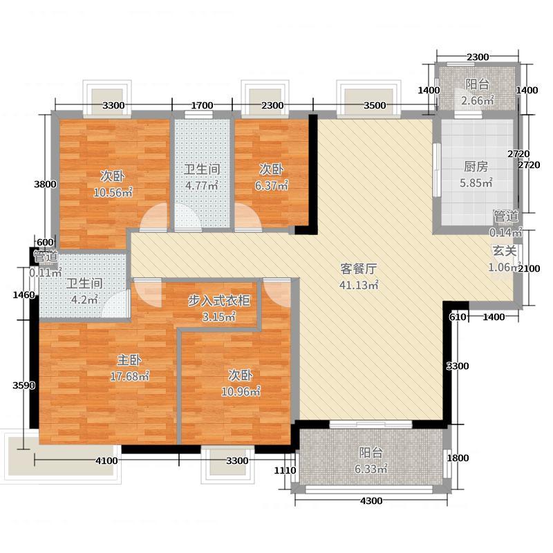 保利海棠102.00㎡4栋03户型3室3厅2卫1厨