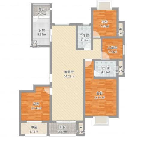 九龙华府4室2厅2卫1厨133.00㎡户型图
