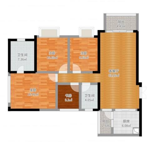 金融街融景城原始尺寸4室2厅2卫1厨124.00㎡户型图