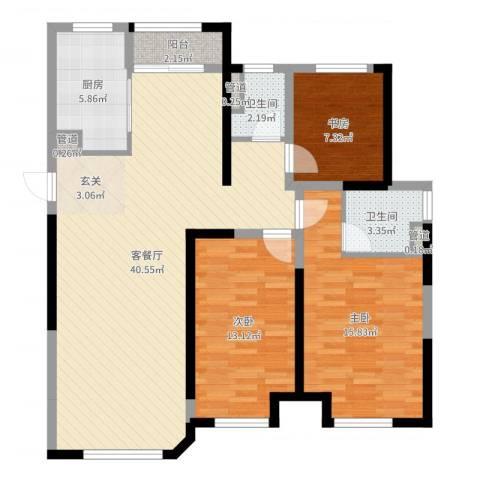 金地艺华年3室2厅2卫1厨114.00㎡户型图