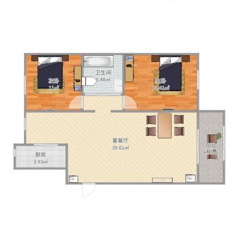 水木融城2室2厅1卫1厨101.00㎡户型图