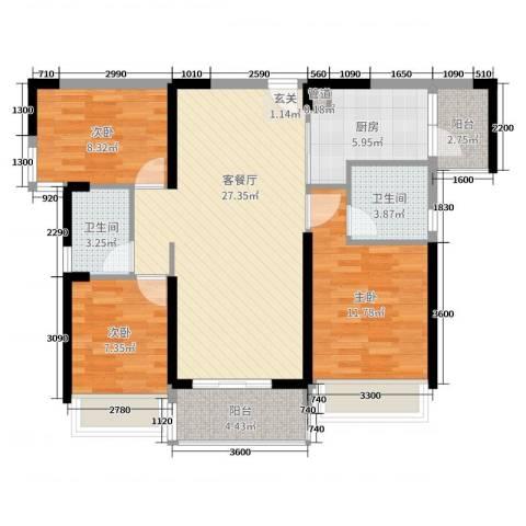 长盈翰林苑3室2厅2卫1厨99.00㎡户型图