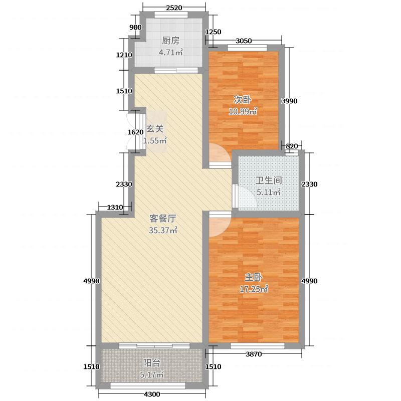 盛世康城三期怡园98.00㎡42#、43#楼标准层K户型2室2厅1卫1厨