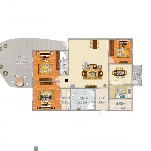 山海华府3室2厅2卫1厨133.00㎡户型图