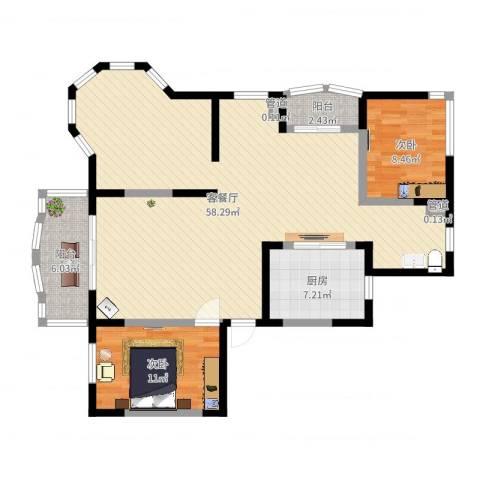 欧洲豪庭2室2厅2卫1厨117.00㎡户型图