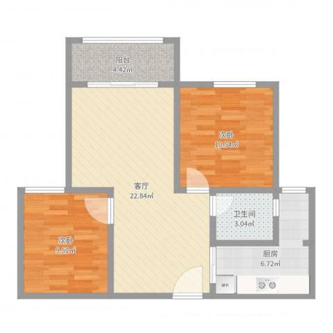 恒鑫名城三期2室1厅1卫1厨57.08㎡户型图