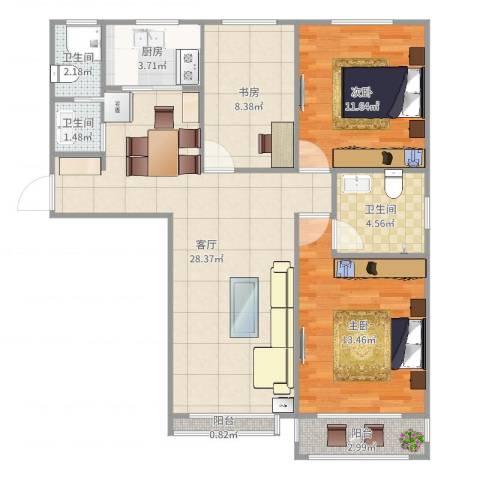 百花家园6#119平米3室1厅3卫1厨97.00㎡户型图