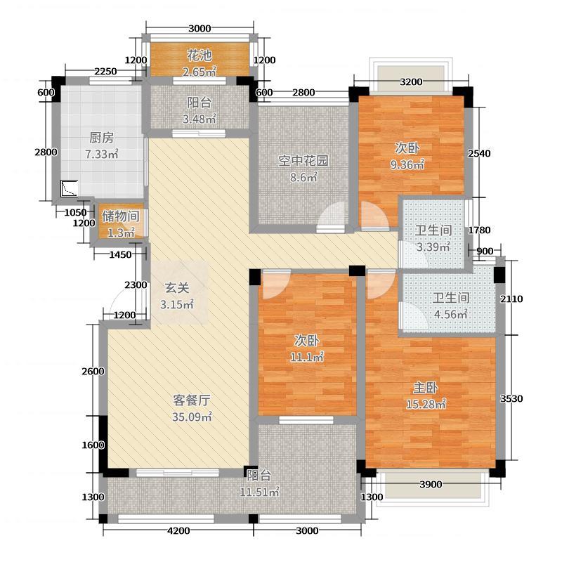 观澜御�Z台132.51㎡D1-1-2#/D1-3-1#户型4室4厅2卫1厨